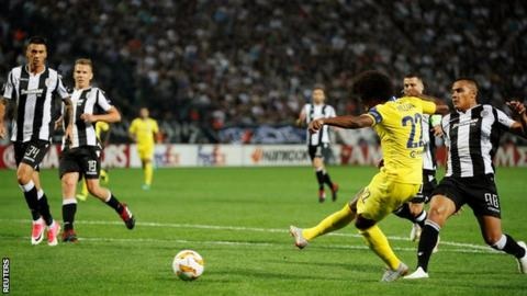 Willian opens the scoring for Chelsea against PAOK Salonika
