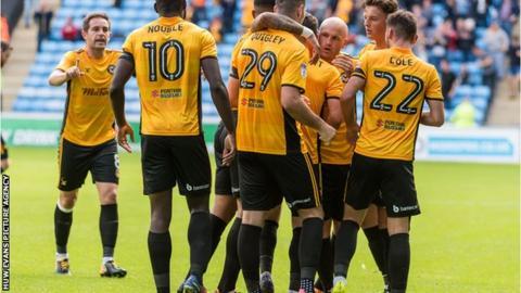 Newport celebrate their winning goal