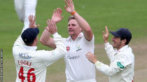 Timm van der Gugten celebrates an early wicket for Glamorgan against Essex