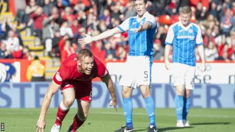 Aberdeen's Adam Rooney celebrates against St Johnstone