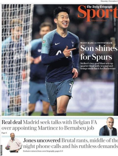 The back page of the Daily Telegraph