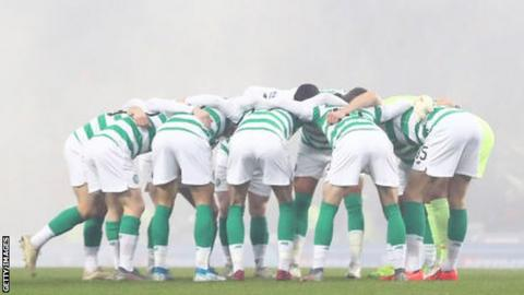 Celtic do the huddle before the League Cup final with Rangers