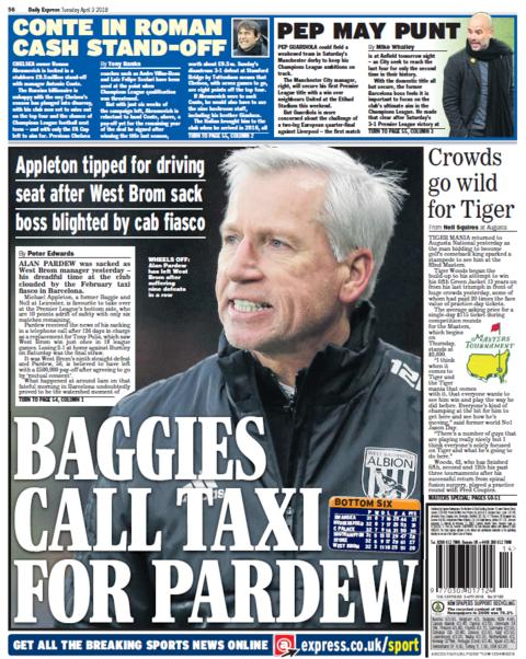 Daily Express back page on Tuesday
