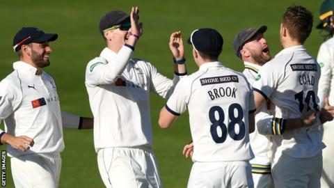Ben Coad takes a wicket for Yorkshire