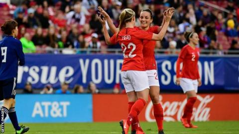 England celebrate Beth Mead's third goal against Japan