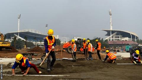 Construction workers at the site for the F1 Grand Prix in Vietnam