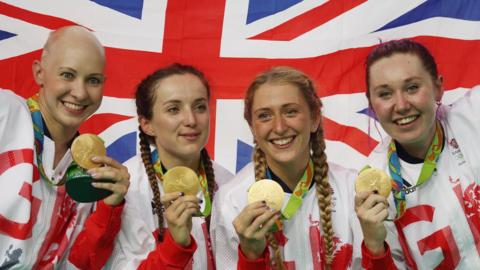 Jo Rowsell Shand, Elinor Barker, Laura Kenny and Katie Archibald celebrate Olympic gold at Rio 2016