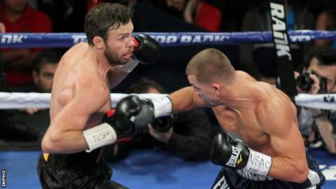 Andy Lee (left) stopped Matt Korobov in six rounds to win the WBO middleweight title in December 2014
