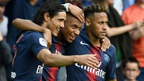 (left to right) Edinson Cavani, Kylian Mbappe and Neymar