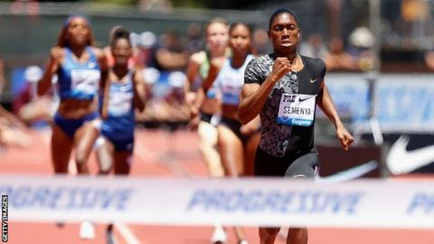 Caster Semenya competing in the Prefontaine Classic