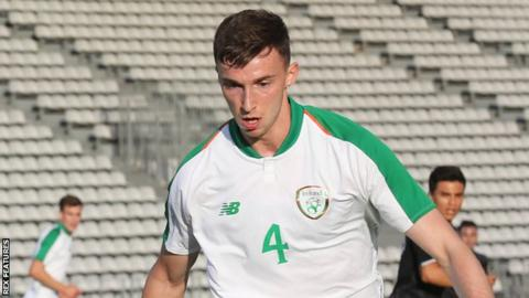 Conor Masterson in action for Republic of Ireland Under-21s