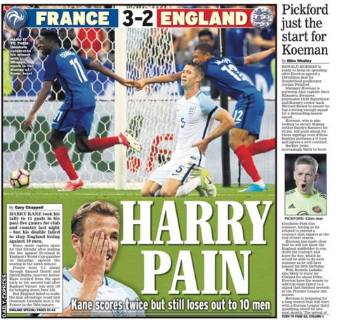 Daily Express back page on Wednesday