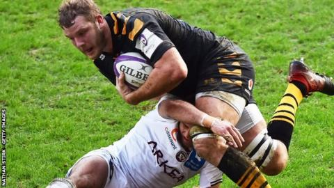 England's Joe Launchbury played the first hour in Wasps' home defeat by Bordeaux at the Ricoh Arena