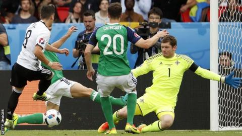 Michael McGovern playing for Northern Ireland against Germany