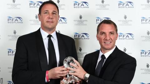Brendan Rodgers receives the PFA Scotland manager of the year award from Scottish FA performance director Malky Mackay