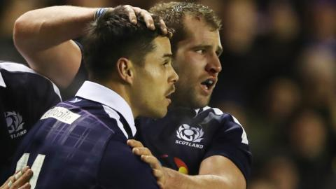 Scotland's Sean Maitland and Fraser Brown