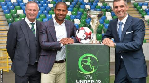 NI manager Michael O'Neill, Uefa ambassador Glen Johnson and tournament ambassador Aaron Hughes at the tournament launch