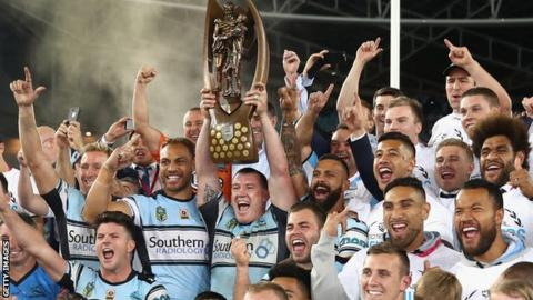 Cronulla Sharks celebrate their NRL premiership win