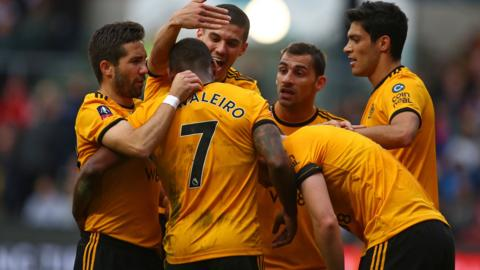 Wolves celebrate Ivan Cavaleiro's goal against Bristol City