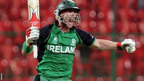 John Mooney celebrates hitting the winning against England in the 2011 World Cup