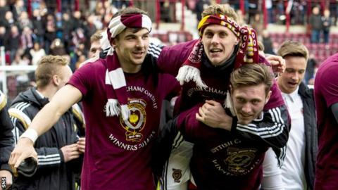 Hearts celebrate their Championship title win