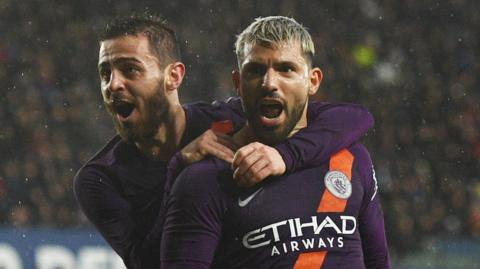 Bernardo Silva (left) and Sergio Aguero
