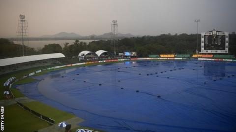 A view of the Rangiri Dambulla International Stadium, with the covers on and rain falling during the abandoned first ODI between Sri Lanka and England