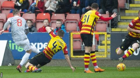 Tom Beadling scores for Dunfermline Athletic against Partick Thistle