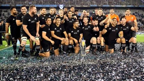 New Zealand celebrate winning the Rugby Championship