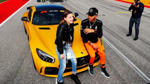 Mercedes' Lewis Hamilton and actress and model Millie Bobby Brown