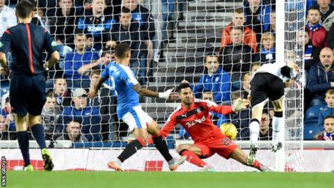 Murray Davidson knocks in the first goal of the evening at Ibrox