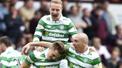 Celtic's James Forrest, Leigh Griffiths and Scott Brown celebrate