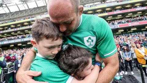 Rory Best embraces his children Ben and Penny after Saturday's game in Dublin