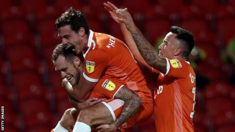 Blackpool players celerbrate