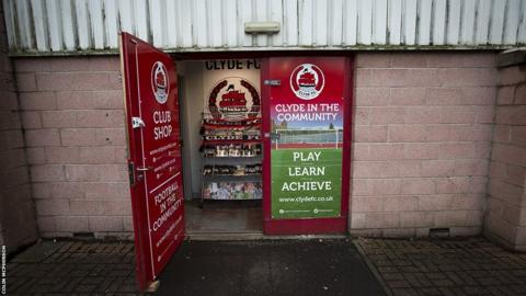 The Clyde club shop open for business before the match