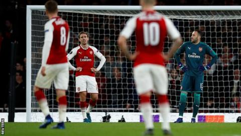 Arsenal players look on disappointed after Griezmann scores for Atletico