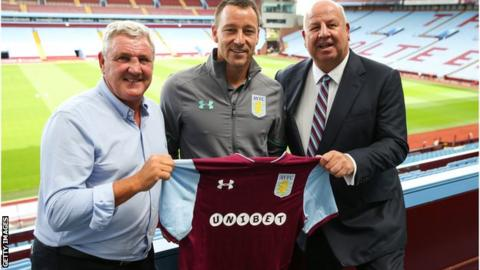 (left to right) Aston Villa manager Steve Bruce, defender John Terry and former chief executive Keith Wyness