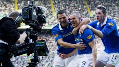 Kenny Miller celebrates scoring for Rangers against Celtic in a 3-1 league win in 2010