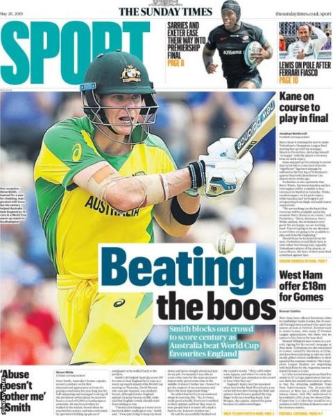 Sunday Times main sport page