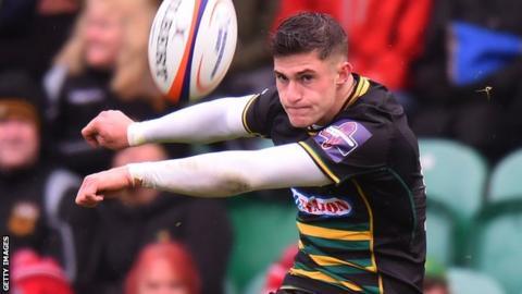 Northampton's James Grayson kicks towards the posts