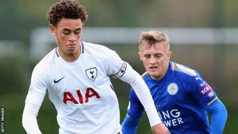Luke Amos (left) in action for Tottenham's Under-23s against Leicester in October