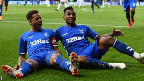 Rangers captain James Tavernier and striker Alfredo Morelos celebrate
