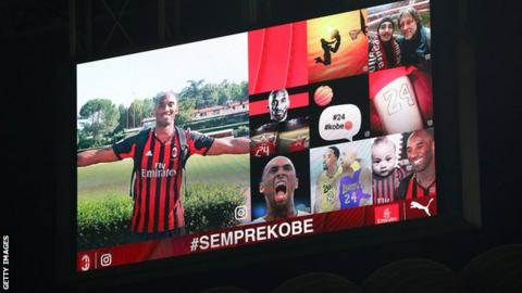 A screen at San Siro remembered Kobe Bryant before the game