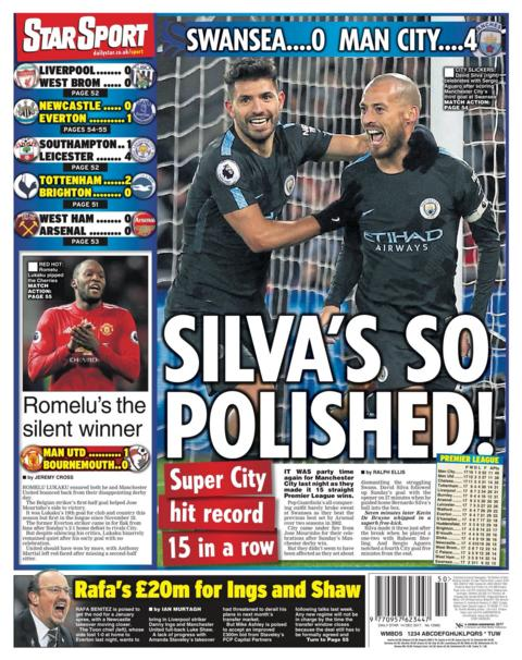 """Silva's So Polished"" is the Daily Star headline on Thursday"