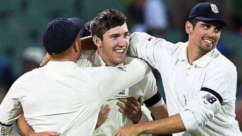 Craig Overton removed Steve Smith for his maiden Test wicket
