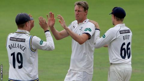 Yorkshire's Steven Patterson celebrates after taking a Lancashire wicket