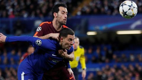 Eden Hazard and Sergio Busquets