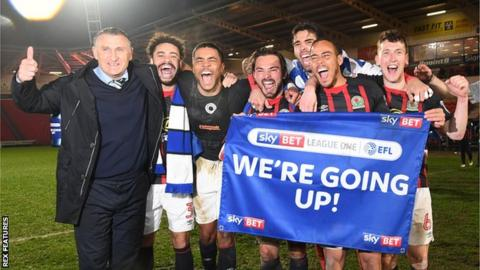 Blackburn Rovers celebrate promotion back to the Championship