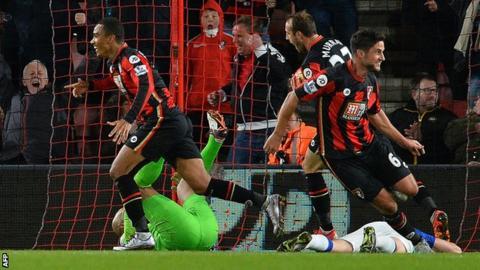 Bournemouth celebrate a goal for Junior Stanislas