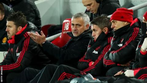 Mourinho, centre, was sacked by Manchester United in December and replaced by Ole Gunnar Solsjkaer